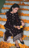 Embroidered Front Plain Back Dori Embroidered Motif for Back Embroidered Sleeves Embroidered Dori Lace for Front & Sleeves Embroidered Dori Border for Front & Back Raw Silk Trouser