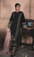 Embroidered Front Embroidered Back Embroidered Sleeves Embroidered Lace for Sleeves Embroidered Lace for Sides and Daman Organza Embroidered Dupatta Raw Silk Trouser Embroidered trouser Patch