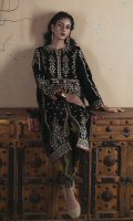 Sheesha Embroidered Front Embroidered Back Sheesha Embroidered Sleeves Embroidered Daman for Front and Back Jacquard Trouser