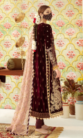 Embroidered Front with Dori and Sequins Block Printed Back  Sequins Embroidered Sleeves  Embroidered Motif (Sleeves) Embroidered Border (Sleeves) Gota Embroidered Lace (Front)  Embroidered Motifs (Front) Dori & Sequins Embroidered Neckline Gota Embroidered on Cotton Net Dupatta Raw Silk Trouser