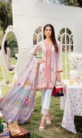Schiffli Embroidered Front Digital Printed Back Digital Printed Sleeves Digital Printed Egyptian Lawn Dupatta Dyed Trouser Embroidered Front Lace Embroidered Hem Embroidered Border Lace