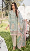 Embroidered Front Digital Printed Back Digital Printed Sleeves Digital Printed Egyptian Lawn Dupatta Dyed Trouser Embroidered Border Embroidered Lace