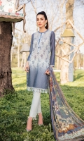 Schiffli Embroidered Tie & Dye Front on Chanderi Digital Printed Back on Chanderi Plain Sleeves on Chanderi Digital Printed Chiffon Dupatta Dyed Trouser