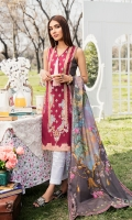 Embroidered Front Digital Printed Back Digital Printed Sleeves Digital Printed Egyptian Lawn Dupatta Dyed Trouser
