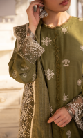 Sheesha Embroidered Front Embroidered Chock Patti Lace Block Printed Back and Sleeves Embroidered Border For Front, Sleeves, And Shawl Hand Loomed Shawl Plain Trouser
