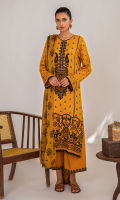 Block Printed Front Block Printed Back Block Printed Sleeves Embroidered Neckline Schiffli Embroidered Front Border Velvet Embossed Printed Dupatta Embroidered Trouser Lace Plain Trouser