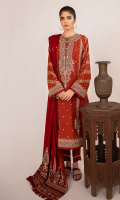 Block Printed Front Block Printed Back Block Printed Sleeves Embroidered Neckline Embroidered Front Lace Embroidered Front Motifs Embroidered Border For Front, Back, and Sleeves Embroidered Shawl Plain Trouser