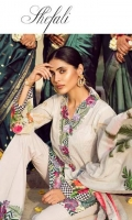 Embroidered Front Digital Printed Back Digital Printed Sleeves Digital Printed Egyptian Lawn Dupatta Embroidered Neckline Dyed Trousers Embroidered Lace for Trousers