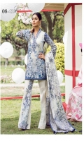 Printed Front Printed Back Printed Sleeves Printed Egyptian Lawn Dupatta Printed Trousers Embroidered Front Border Embroidered Lace for Sleeves  Share