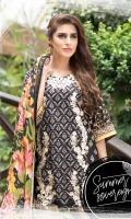 Embroidered Front Printed Back Printed Sleeves Chiffon Dupatta Dyed Trouser