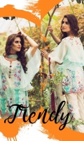Printed Front Printed Back Printed Sleeves Chiffon Dupatta Dyed Trouser Two Embroidered patch for front One Embroidered patch for trouser