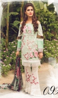 Printed Front Printed Back Printed Sleeves Chiffon Dupatta Printed Trouser Two Embroidered motif for front Two Embroidered motif for trouser