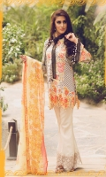 Embroidered Front Printed Back Printed Sleeves Chiffon Dupatta Dyed Trouser Embroidered lace for Trouser