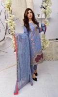 COTTON EMBROIDERY SHIRT  SHEFOON & NET EMBROIDERY DUP EMBROIDERED CAMBRIC TOUSER
