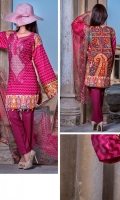 3 Meters Viscose Embroidered Shirt  2.5 Meters Chiffon Dupatta  2.5 Meters Viscose Trouser