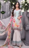 Three pcs Karandi Embroidery with scalloped Chiffon Dupatta