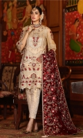 Golden Ornaments And Stones, Fashioned Shirt Hemline And Necklaces With Elegant Florals Full Embroidered Chiffon Dupatta Dyed Trouser