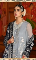 Tranquil Blue Embossed With Shiny Motifs Shirt Silver And Antique Embroidery Dupatta Dyed Trouser With Embroidered Lace