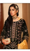 Gold Embroidery And Stone Work Front Shirt Stunning Black Velvet Gleaming Gold Duputta Dyed Trouser