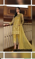 Crafting Embroidered Chiffon Shirt Front Embroidered Chiffon Back Embroidered Chiffon Dupatta Dyed Trouser