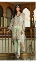 Contrasted With Peach Pink Floral Embroidery, Adorned With Stones Shirt Pastel Teal Duputta Dyed Trouser