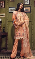 Embroidered jacquard Shirt Front Digital printed Jacquard Back & Sleeves Dyed Linen Trouser Embroidered Chiffon Dupatta Embroidered Lace