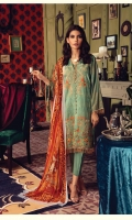 Embroidered Shirt Front Gold Printed back & Sleeves Dyed Linen Trouser Digital Printed Chifon Dupatta