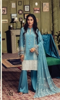 Embroidered jacquard Shirt Front Embroidered jacquard Sleeves Digital Printed Back Dyed Linen Trouser Embroidered Chiffon Dupatta Embroidered Shirt Border Embroidered Lace
