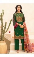Embroidered Shirt Front with Mirror Work  Printed Shirt Back & Sleeves  Digital Printed Chiffon Dupatta