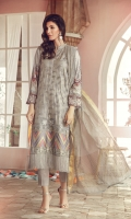 Embroidered Front Digital Printed Back & Sleeves Organza Jacquard Dopatta with Minor work Dyed Trouser