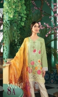 Jacquard Embroidered Shirt Jacquard Dyed Sleeves Digital Printed Back (100% Pima Cotton) Printed Cambric Trouser Digital Printed Chiffon Dupatta Embroidered Lace