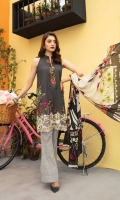 Printed Shirt  (100% Pima Cotton) Printed Cambric Trouser Cotton Net Dupatta Embroidered on Shirt  Embroidered Neckline