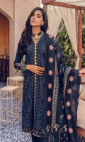 ChickenKari Embroidered Shirt Front Block Printed Back and Sleeves Foil Printed Cotton Silk Dupatta Dyed Cambric Trouser