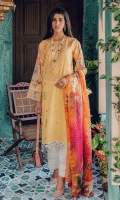 Embroidered Jacquard Shirt Front Digital Printed Back and Sleeves Digital Printed Silk Dupatta Embroidered Lace Dyed Cambric Trouser