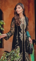 Embroidered Jacquard Shirt Front Digital Printed Back and Sleeves Woven Silk Dupatta Embroidered Border Dyed Cambric Trouser