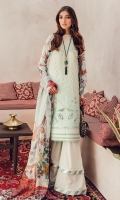 Cutwork Shirt Front Digital Printed Back and Sleeves Digital Printed Chiffon Dupatta Dyed Cambric Trouser