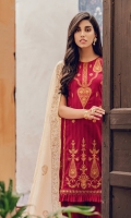 Embroidered Jacquard Shirt Front Dyed Jacquard Sleeves Gold Foil Printed Back Block Printed Chanderi Silk Dupatta Embroidered Sleeve Motif Dyed Cambric Trouser