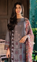 Schiffli Embroidered Shirt Front Schiffli Embroidered Sleeves Digital Printed Back Digital Printed Chiffon Dupatta Dyed Cambric Trouser