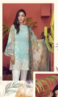 Digital Printed Shirt Front with Embroidery Digital Printed Back & Sleeves (100% Pima Cotton) Embroidered Cotton Trouser Digital Printed Chiffon Dopatta Embroidered Border with Cut Work Embroidered Lace