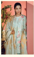 Embroidered Jacquard Net Shirt Front  Digital Printed Back & Sleeves  (100% Pima Cotton) Dyed Cotton Trouser Pearl Printed & Embellished Dopatta