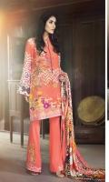 Shirt   2.5 mtrs (Digital Printed) Sleeves 1 Pair (Digital Printed) Pashmina Shawl 2.5 mtrs (Printed) Trouser 2.5 mtrs (Dyed)