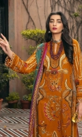 Embroidered Jacquard Shirt Front with Boring  Embroidered Jacquard Sleeves with Boring Digital Printed Back Digital Printed Silk Dupatta Dyed Cambric Trouser