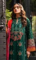 ChickenKari & Sheesha Embroidered Shirt Front  Block Printed Sleeves  Dyed Jacquard Back Digital Printed Silk Dupatta Dyed Cambric Trouser