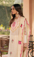 Embroidered Block Print Jacquard with Sheesha work Shirt Front Block Print Sleeves & Back Embroidered Hem Border Embroidered  Jacquard Silk Dupatta Dyed Cambric Trouser