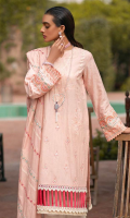 Sheesha Embroidered Self Jacquard Shirt Front Embroidered Self Jacquard Sleeves Block Print Back Sheesha Embroidered Khaadi Net Dupatta Dyed Cambric Trouser