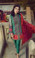 Embroidered Shirt Front Printed back & sleeves Dyed Karandi Trouser Embroidered Shawl