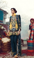 Digital Printed Shirt  Dyed Karandi Trouser  Embroidered Shawl  Embroidered Neckline  Embroidered Trouser Motifs x 2