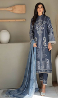 Embroidered Jacquard Shirt Front Foil Printed Shirt Back Block Printed Premium Voil Dupatta Dyed Cambric Trouser