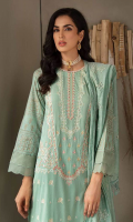 Embroidered Shirt Front Printed Shirt Back & Sleeves Schiffli Embroidered Chanderi Dupatta Dyed Cambric Trouser