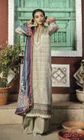 ChickenKari Embroidered Karandi Front with Mirror Work Digital Printed Sleeves & Back Digital Printed Shawl Dyed Karandi Trouser